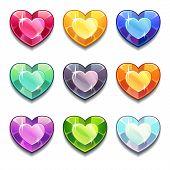 Cartoon vector diamond hearts