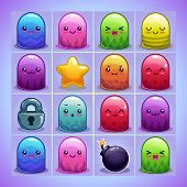 picture of kawaii  - Cute simple characters and elements for game on the blue game board - JPG