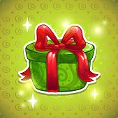 Green gift box with big red bow