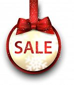 Sale and discount paper label with red bow and ribbon. Vector.