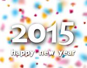 Happy 2015 new year word over defocused confetti background. Vector paper illustration.
