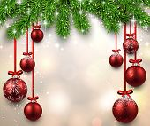 Christmas illustration with fir twigs and red balls. Vector background.