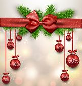 Red sale christmas balls background. Vector illustration.