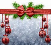 Red christmas balls background. Vector illustration.