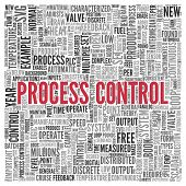 Close up Red PROCESS CONTROL Text at the Center of Word Tag Cloud on White Background.