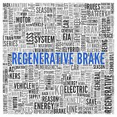 Close up Blue REGENERATIVE BRAKE Text at the Center of Word Tag Cloud on White Background.