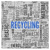 Close up Blue RECYCLING Text at the Center of Word Tag Cloud on White Background.