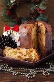 Panettone - Sweet Bread Loaf Traditional For Christmas And  New Year On Plate