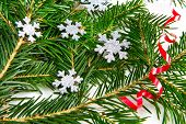 Christmas tree and snowflakes decorations