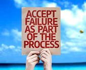 Accept Failure As Part Of The Process card with a beach background