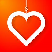 image of applique  - Heart applique on orange background - JPG