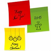 Sheets Of Paper With Doodle Christmas And Happy New Year Messages