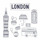 Vector London tourism attractions and symbols