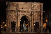 Arch of Constantine by night in Christmas time