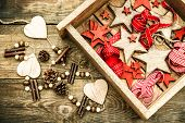 Christmas Decorations Wooden Stars And Red Ribbons. Retro Style