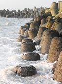 Tetrapods Made Of Concrete Protect The Coast Of Sylt
