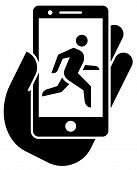 Smartphone with jogging tracker icon