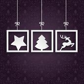 stock photo of x-files  - Christmas cover with white frames on the purple background - JPG