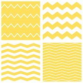Tile chevron vector pattern set with yellow and white zig zag background