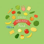 Fresh Organic Food Flat Style Icon Set