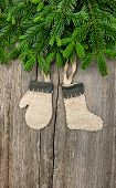 Christmas Tree Branch Over Wooden Background