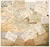 Vintage Handwritten Postcards. Grunge Paper Background