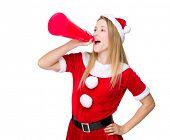 Xmas girl yell with megaphone