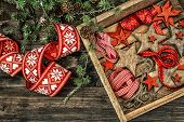 Christmas Decorations Wooden Stars And Red Ribbons