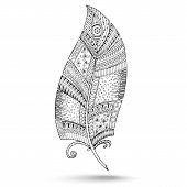 Ethnic doodle feather on white background.
