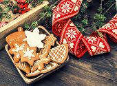 Christmas Ornaments And Gingerbread Cookies. Vintage Style