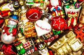 Christmas Baubles, Toys And Ornaments. Colorful Decorations