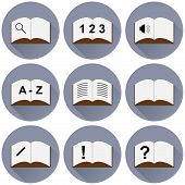 set of icons with a book