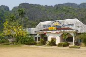 Abandoned pub in Lao tourist oriented town Vang Vieng, Laos.