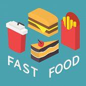 Fast food, 3d isometric flat set.