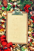 Clipboard With Paper For A Letter. Christmas Background Retro Style