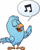 Blue singing bird. Vector clip art illustration with simple gradients. All in a single layer.