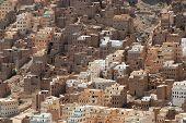 Traditional mud bricks buildings of Seiyun city, Hadramaut valley, Yemen.