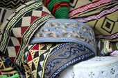 Traditional Yemeni men headdress at the market of Sana'a, Yemen.