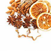 Christmas Cookies With Cinnamon Sticks, Anise Stars And Dried Orange