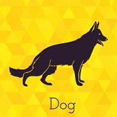 Dog silhouette on triangles background
