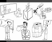 picture of democracy  - Black and White Illustration Set of Humorous Cartoon Concepts or and Metaphors of Politics and Democracy - JPG