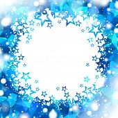 abstract square blue background with star shine center and snowy frame