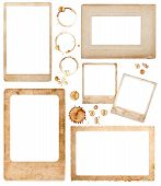Aged Paper Photo Frames And Coffee Stains. Scrapbook Elements
