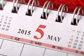 Macro Chinese Calendar 2015 - May with Chinese number word