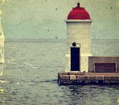 Old Photo With Lighthouse From Zadar, Croatia.