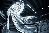 stock photo of escalator  - Moving escalator in the business center of a city - JPG