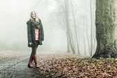 Постер, плакат: Woman Walking In Park In Foggy Day