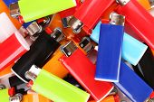 Colorful lighters close-up