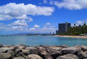 foto of waikiki  - Beach in Honolulu against billowing clouds as viewed from Waikiki - JPG