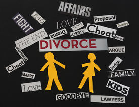 foto of divorce-papers  - Paper couple with divorce themed paper messages - JPG